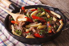 Beef with vegetables and French fries in a pan close-up horizont Royalty Free Stock Photos