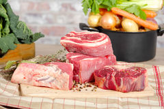 Beef and vegetables for the preparation of pot-au-feu Royalty Free Stock Photography