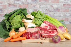 Beef and vegetables for the preparation of pot-au-feu Royalty Free Stock Images