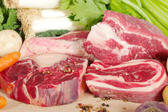 Beef and vegetables for the preparation of pot-au-feu Stock Image