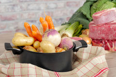 Beef and vegetables for the preparation of pot-au-feu Stock Photos
