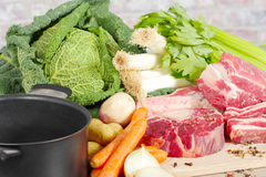 Beef and vegetables for the preparation of pot-au-feu Royalty Free Stock Image
