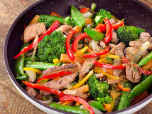 Beef vegetables stir fry Royalty Free Stock Photos