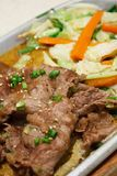 Teppanyaki Japanese Cooking. Beef with vegetables teppanyaki Japanese Cooking Stock Photography