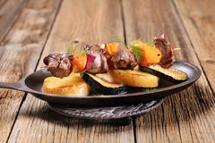 Beef or venison kebab with oranges Royalty Free Stock Images