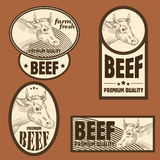 Beef vintage labels. For using in different spheres Stock Image
