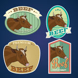 Beef vintage labels. For using in different spheres Royalty Free Stock Image