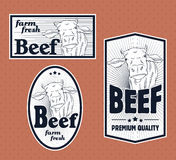 Beef vintage labels. For using in different spheres Stock Photo