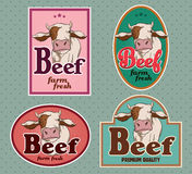 Beef vintage labels Stock Photography