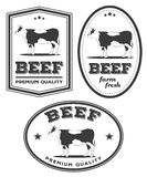 Beef vintage labels Royalty Free Stock Photos