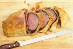 Beef wellington from above Royalty Free Stock Images