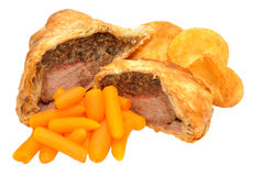 Beef Wellington With Roasted Potatoes And Carrots stock image