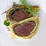 Beef Wellington slices overhead Royalty Free Stock Photography