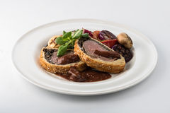 Beef Wellngton with vegetables Royalty Free Stock Image