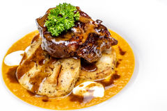 Beef wild sauce with dumplings Royalty Free Stock Photography