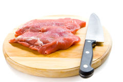 Beef on wooden board Stock Image