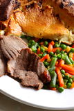 Beef with Yorkshire pudding Stock Photography