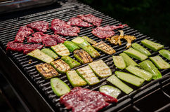 Beef and zucchinni on a grill Stock Photography