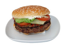 Beefburger. Or hamburger double or large size Stock Images