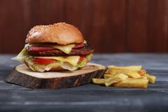 Beefburger sandwich with potato Royalty Free Stock Images