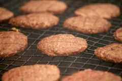 BEEFBURGERS ON BARBECUE. BEEFBURGERS COOKING ON BARBECUE IN CLOSE UP Royalty Free Stock Photography