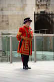Beefeater. Befeater at the door of the Tower of London