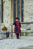 Beefeater. The guards at the Tower of London are called Yeoman Warders.Their nickname is Beefeater Royalty Free Stock Image