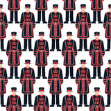 Beefeater soldier - Yeoman warder –  London symbol - seamless Stock Image