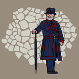 Beefeater. Yeoman Warder at the Tower of London. Cartoon charact. Yeoman Warder at the Tower of London. Cartoon character Royalty Free Stock Photo