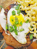 Beefsteak with egg Royalty Free Stock Photography