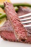 Beefsteak on Fork Royalty Free Stock Image