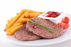 Beefsteak and french fries Royalty Free Stock Photo