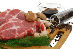 Beefsteak prepared for cooking Stock Images
