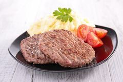 Beefsteak and puree. Plate of beefsteak and puree stock images