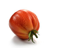 Beefsteak Tomato with Drops 5. One Beefsteak Tomato with Drops on white board Stock Image
