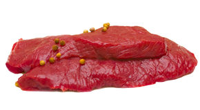Beefsteck. Twos slices of beef, isolated over white Stock Images