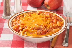 Beefy macaroni and cheese Royalty Free Stock Photography
