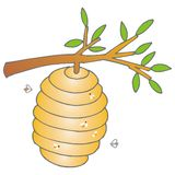 Beehive. Art illustration of a beehive stock illustration
