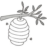 Beehive. Art illustration in black and white: a beehive vector illustration