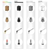 Beehive on an apiary, an insect of a bee, a dipper for honey, a scraper. Apiary set collection icons in cartoon black Royalty Free Stock Photos