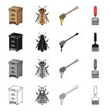 Beehive on an apiary, an insect of a bee, a dipper for honey, a scraper. Apiary set collection icons in cartoon black Stock Photos