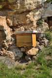 Beehive. Artificial hive, installed in the field by a beekeeper to gather honey Stock Photos