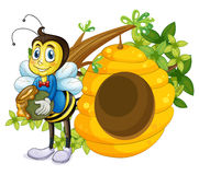 A beehive beside the bee Royalty Free Stock Photography