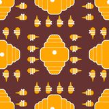 Beehive and bees pattern seamless. Home for bee cartoon style. Background Vector.  royalty free illustration