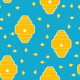 Beehive and bees pattern seamless. Home for bee cartoon style. Background Vector.  vector illustration
