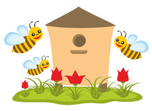 Beehive with bees. In summer royalty free illustration