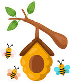 Beehive branch. Illustration of isolated beehive branch on white background royalty free illustration