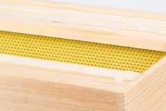 Beehive frames and foundation in deep super Stock Photography