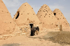 Beehive houses with donkey Royalty Free Stock Photography