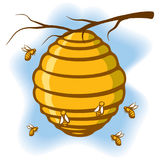 BeeHive. An Illustration of a beehive suspended from a tree with bees around it stock illustration